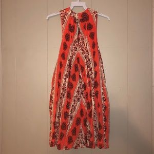 Free People Coral High-Neck Keyhole Dress. XS.